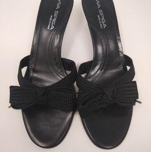 Via Spiga   knit bow kitten slide heels